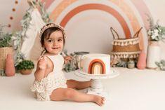 Smash Cake First Birthday, Rainbow First Birthday, Baby Cake Smash, 1st Birthday Themes, Baby Girl First Birthday, Rainbow Smash Cakes, Boho Cake, 1st Birthday Photoshoot, Cake Smash Photography