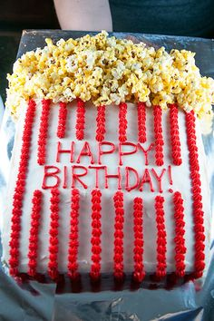 I've mentioned Andrea a lot … - Birthday Cake Flower Ideen Birthday Popcorn, Carnival Birthday, Happy Birthday Cakes, Birthday Party Themes, Cake Birthday, Birthday Nails, 13th Birthday, Kino Party, Movie Cakes