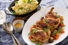 Roasted Chicken & Root Vegetables with Potato-Rutabaga Mash