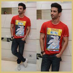 Sushant Singh Rajput in Moschino t-shirt, Raabta Promotional Style, Raabta Kolkatta promotions, MyFashgram
