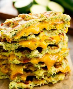 Zucchini waffle grilled cheese sandwiches are made with low-carb zucchini waffles and melted cheddar cheese. Both the waffles and sandwiches are cooked directly in your waffle iron for less clean-up. Zucchini Muffins, Zucchini Tots, Zucchini Crisps, Zucchini Bread, Low Carb Recipes, Cooking Recipes, Milk Recipes, Poffertjes, Queso Fundido