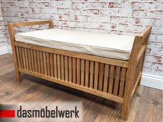 Truhenbank Sitzbank Pinien Holz mit Kissen Stauraum Truhe Bank Möbel Wäsche WOW