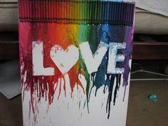 LOVE Rainbow Melted Crayon Art. $40.00, via Etsy.