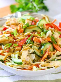 This easy to make Crunchy Thai Chicken Salad with Peanut Dressing has a ton of flavor! We used store bought rotisserie chicken to keep it easy!