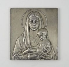 Vintage-Early-20c-Stefan-Schwartz-Silvered-Bronze-Square-Plaque-of-Mary-Jesus