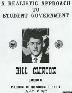 Clinton ran for President of the Student Council while attending the School of Foreign Service at Georgetown University. Description from thebigestmanofworld.blogspot.com. I searched for this on bing.com/images