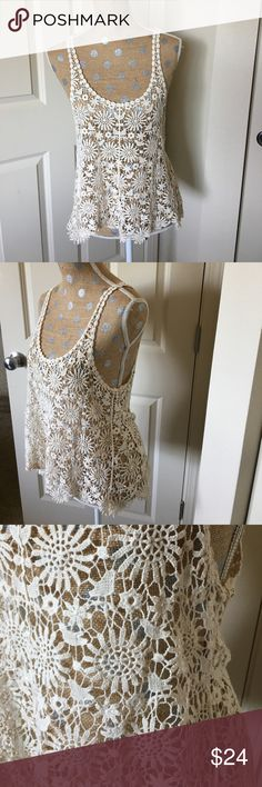 Crocheted tank Worn once, no damage or stains. Cream crocheted tank. finn & Clover Tops Tank Tops