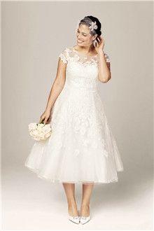 A-Linie/Princess-Linie Juwel-Ausschnitt Wadenlang Organza Brautkleider