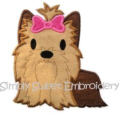 Yorkie Puppy Machine Embroidery Applique by SimplySweetEmbroider, $4.00
