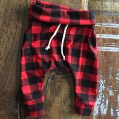 Buffalo plaid in red baby & toddler joggers. by coramaedesign