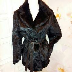 No Tag Label Jackets & Coats - ~EUC~ Black Rabbit Fur Coat Small