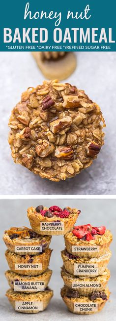 Honey Nut Baked Oatmeal Cups – a healthy make ahead and portable breakfast perfect for busy mornings. Best of all, made with hearty rolled oats, honey, walnuts and a touch of warm cinnamon. Gluten free and no refined sugar and great for meal prep Sunday. Oatmeal Breakfast Bars, Baked Oatmeal Cups, Baked Oatmeal Recipes, Baked Oats, Breakfast Cups, Oats Recipes, Breakfast Ideas, No Bake Oatmeal, Healthy Baked Oatmeal