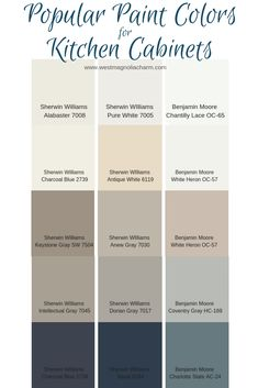 Popular Kitchen Cabinet Paint Colors - West Magnolia Charm - - Painting your kitchen cabinets is a budget-friendly way to update your kitchen. Consider using one of these popular kitchen cabinet paint colors to complete the transformation. Kitchen Paint Colors, Paint Colors For Home, House Colors, Paint Colors For Cabinets, Colored Cabinets, Cream Cabinets, Cabin Paint Colors, Neutral Kitchen Colors, Magnolia Paint Colors