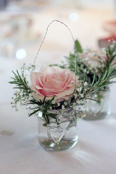 Table decoration - jam jar of flowers - pink roses - gypsophila - rosemary - Wedding Table Centerpieces, Flower Centerpieces, Wedding Decorations, Centerpiece Ideas, Pink Table Decorations, Jam Jar Flowers, Table Flowers, Silk Flowers, Floral Wedding