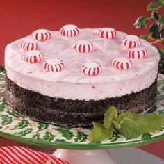 Frosty Peppermint Dessert - I think I'd sprinke with crushed peppermints rather than whole ones
