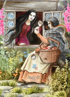 Snow White and the Old Apple Seller Woman who is really her Stepmother the Evil Queen in disguise with the poisoned apple