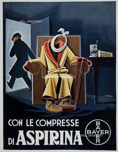 """Pubblicità dell'Aspirina Bayer, illustrazione di Renzo Bassi tratta dalla rivista """"L'Illustrazione Italiana"""" del 25 dicembre 1935, pagina 1164"""