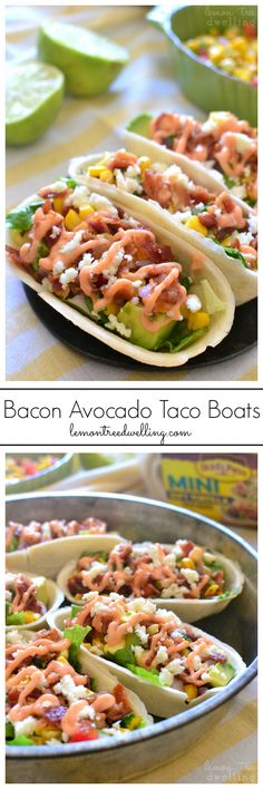 Bacon Avocado Taco Boats - loaded with lettuce, bacon, avocado, cheese, fresh corn salsa, and spicy sriracha mayo. My family LOVED these! #TacoBoats #TacoBoatSweepstakes