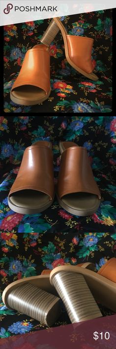 Light Brown Mules - Only Worn Once I have only worn them once - they are super cute & comfy, just a half size too small for me. 😕   They do have a small scuff on the left shoe (Picture 4) but other than that, they are in GREAT condition.   Any questions, please feel free to ask! Old Navy Shoes Mules & Clogs