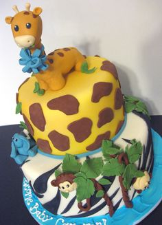 animial safari baby shower cake for boys