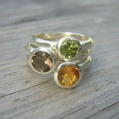 Harvest Stacking Rings in Sterling, Made To Order