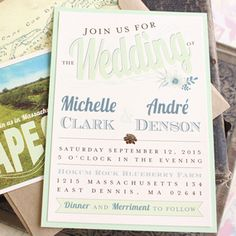 Succulent Wedding Invitation (Typography Wedding Invitation)