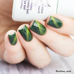 Green cat eye #gelnails, like it? More details shared in bornprettystore.com. Try it now.