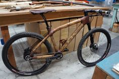 Calfee wood bicycle made from fallen tree branches