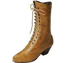 Tan Western Boot Lace up Boot Granny Boots Theatrical Footwear : Costumeshoes.net