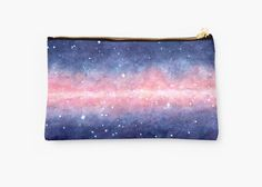 Watercolor Space Studio Pouch by Anastasia Shemetova #faerieshop #watercolour #watercolor #space #galaxy #universe #stars #painting #cosmos #purple #night #present #gift #idea #pink #painting #starry #sky #paint #art #water #color #redbubble #hipster #cool #cosmetic #bag #accessories #sale #buy