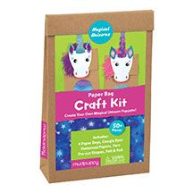 Magical Unicorns Paper Bag Craft Kit - by Galison/Mudpuppy   Parents and children loved all the things they found inside. Kids eagerly began putting things together, cutting, trimming and ultimately making their own unicorn puppet out of a paper bag. It kept groups busy for hours and hours.