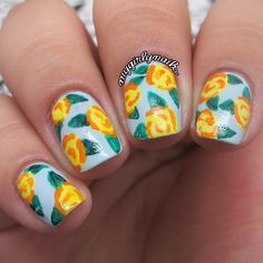 Yellow roses #manicure ===== Check out my Etsy store for some nail art supplies https://www.etsy.com/shop/LaPalomaBoutique