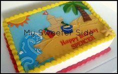 Buttercream Cake With Fondant Decorations Cake Style Inspired By Corriecakes Buttercream cake with fondant decorations. Buttercream Fondant, Fondant Cakes, Cupcake Cakes, Cupcakes, Birthday Sheet Cakes, Birthday Cake, Birthday Ideas, Sheet Cake Designs, Slab Cake