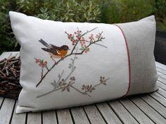 Cushion Embroidery, Hand Embroidery Flowers, Hand Embroidery Patterns, Ribbon Embroidery, Embroidery Designs, Cross Stitch Bird, Cross Stitch Designs, Cross Stitching, Cross Stitch Patterns