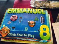 Geometry dash cake for my son's 8th birthday party