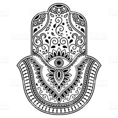 Vector hamsa hand drawn symbol. Decorative pattern in oriental style for the interior decoration and drawings with henna. The ancient symbol of the ' Hand of Fatima '. Lizenzfreies vektor illustration