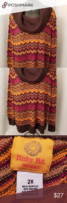 Ruby Rd. Lt/Dk Brown/Orange/Purple/Gold Sweater This item was lightly worn.  The measurement from pit to pit is 26 inches. The length from shoulder to bottom is 27 inches.  The material is 85% acrylic, 10% rayon, and 5% metallic.  Size 2X. Ruby Rd. Sweaters Cowl & Turtlenecks