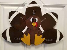 Burlap Door Hangers, Fall Door Hangers, Wreath Crafts, Diy Wreath, Wreaths, Fall Crafts, Holiday Crafts, Football Door Hangers, Turkey Craft