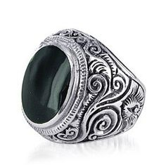 Mens 925 Sterling Silver Signet Ring set with Black ONYX Size 8-13
