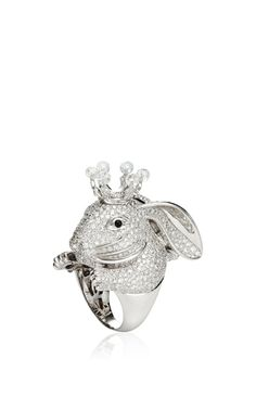 18K White Gold Animal Farm Ring With Diamonds And Onyx by Lydia Courteille for Preorder on Moda Operandi