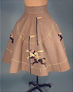 vintage horse racing skirt - amazing! I want to make a circle skirt so badly.