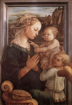 "Fra Filippo Lippi (1406-1469)  Madonna with the Child and two Angels  Tempera on wood  1465  62 x 95 cm  (24.41"" x 3' 1.4"")  Galleria degli Uffizi (Florence, Italy)"