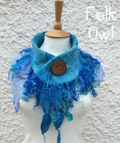 Sea Blue lace scarf-Lace and Felt Cowl blue Cowl fairy by folkowl: