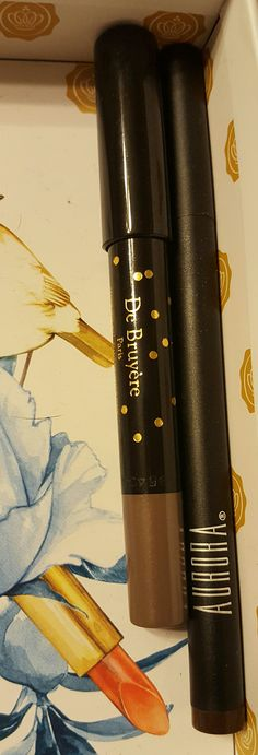 Both New De Bruyere Crayon Pearly Eyeshadow Pencil and Aurora Intensively Precise Eyeliner in Cinnamon Traded.
