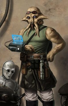 Continuing to explore digital painting possibilities. This fellow is a quarren jedi and a mechanic/technician. I imagine not every jedi is a warrior-monk-peacekeeper. Star Wars Characters Pictures, Star Wars Pictures, Starwars, Star Wars Rpg, Star Wars Jedi, Star Wars Species, Edge Of The Empire, Star Wars Personajes, Star Wars Concept Art