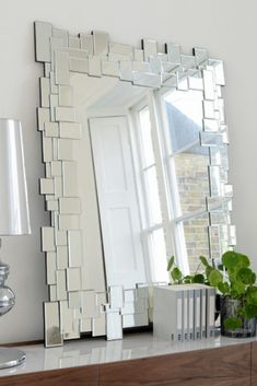 The effect of this distorted boundary is an amorphous appearance that allows the mirror to integrate beautifully with any surface in your home. Mirror Mosaic, Mirror Tiles, Contemporary Wall Mirrors, Modern Mirrors, Dream Shower, Design Your Home, Surface, Interior Design, Lovers