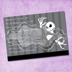 Cute invitation (if you have to celebrate after Halloween)
