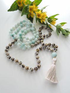Dalmatian Jasper and Amazonite Mala / 108 Beads