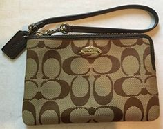Women's Wristlet Handbags - Coach 12cm Signature Corner Zip Wristlet Light Khaki Mahogany F64375 *** Check out the image by visiting the link.