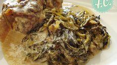 Pork with Stamnagathi Greek Cooking, Pork, Meals, Chicken, Greek Beauty, Kitchens, Kale Stir Fry, Meal, Pork Chops